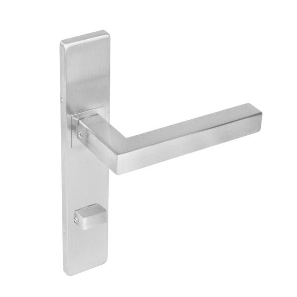 Intersteel Deurkruk Vierkant op rechthoekig schild toilet-/badkamersluiting 72 mm rvs geborsteld