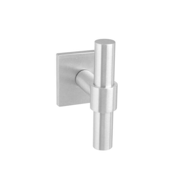 Intersteel Voordeurknop T-recht op vierkante achterplaat rvs geborsteld